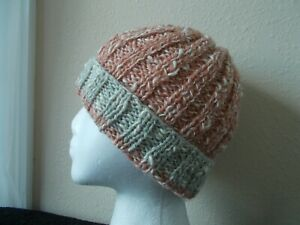 Hand knitted warm & elegant wool/cotton blend beanie/hat, salmon twist (small)