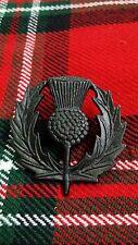 TC New Scottish Thistle Cap Badge/Glengarry.Balmoral Badge Pin Jet Black Finish