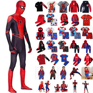 Kids Child Superhero Fancy Dress Outfits Boys Cosplay Spiderman Costume Clothes