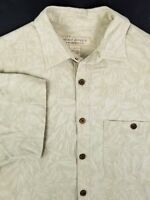 Island Republic Short Sleeve Silk Mens Shirt Size L Large Green Floral 100% Silk