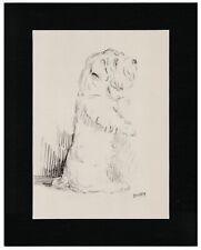 More details for sealyham terrier begging old 1937 dog art sketch print by lucy dawson mac matted