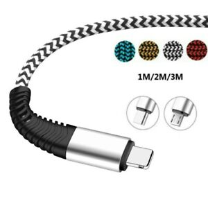Braided Charger Cable 1/2/3M For Android Samsung IOS Micro USB Type C Data Cable