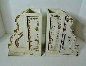 Rustic Chippy Paint Distressed White Wooden Bookends - Planter Box Storage Box