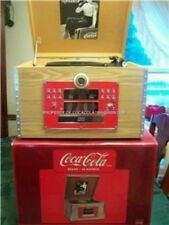 > Coca Cola Coke Crate Album Turntable AM FM Stereo CD Player Radio Wood Bottle