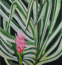 HP Needlepoint 13ct DEDE'S NEEDLEWORKS Palms and Pink Tropical Flower-IW119