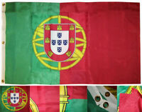 3x5 Embroidered Sewn Portugal 300D Nylon Flag 3' x 5' Banner 3 Clips Heavy Duty