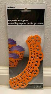 NIP Halloween Cupcake Wrappers Skeleton Design Orange12 count
