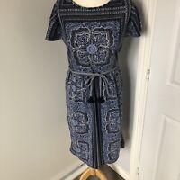 WHITE STUFF Blue Damask Pattern Dress Belt Casual Midi A Line Size 10