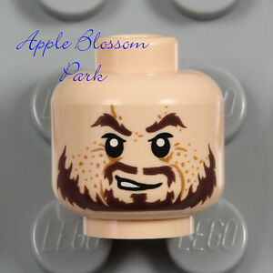 NEW Lego Light FLESH MALE MINIFIG HEAD w/Brown Pirate Moustache Beard Man Hair