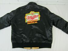 Miller High Life Beer Satin Zip Black Jacket Sz Large Embroidered Patch