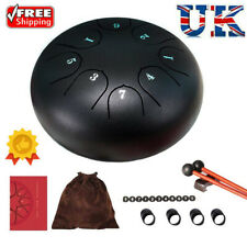 More details for 6 inch black steel tongue drum 8 tone g tune hand pan tank drums percussion new
