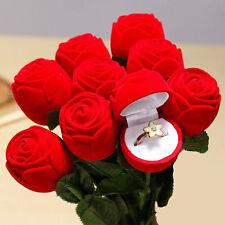1pc Red Velvet Rose Engagement Wedding Earring Ring Pendant Jewelry Box Case