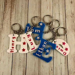 Personalised Letter Name Alphabet Plastic Keyring Keychain Book - Bag Tag