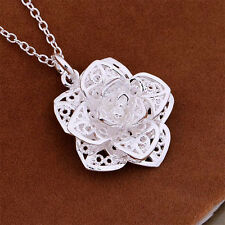 Pretty Sterling Silver Plated Flower Pendant Necklace Chain Jewelry NEW Girl