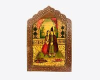 19th Century Antique Hand Painted Qajar Lacquered Covered Mirror