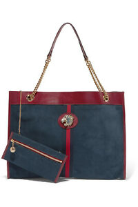 Gucci Rajah Large Suede Navy Calfskin Tote (Authentic) - NEW
