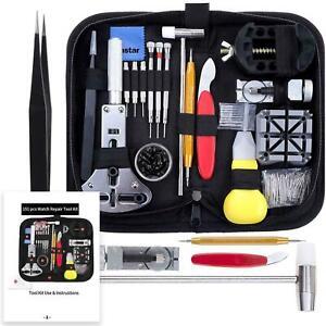 Kit completo per riparazione orologi, Set con astuccio portatile per orologiai