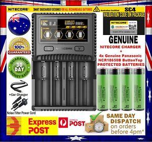 4x Panasonic 18650B 3400mAh PROTECTED Battery+ Nitecor SC4 Superb Charger + Case