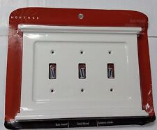 montage mantel solid wood white triple toggle 3gang wall plate amertac new