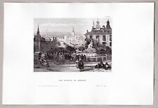 Madrid Alcala, Spanien - Original Stahlstich 1855