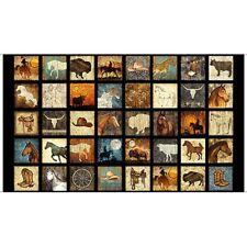 "Cowboy Western Horse Buffalo Hat Black Cotton Fabric QT Unbridled 24""X44"" Panel"