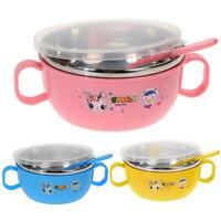 Children Kids handle Soup bowl Container Dish Stainless Steel Nonslip K1B