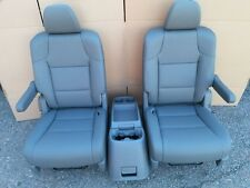 CHARCOAL LEATHER COMPLETE SET 2 BUCKET SEATS & CENTER CONSOLE truck hotrod van