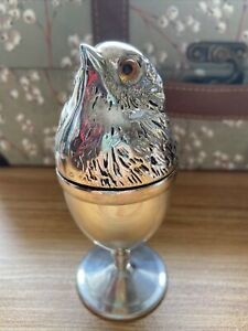 Lovely Vintage Style Collectible Silver Plated Chicken Egg Cup & Cover