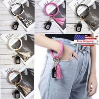 US Fashion Wristlet Round Key Ring Chain Leather Bracelet Bangle Keychain Tassel
