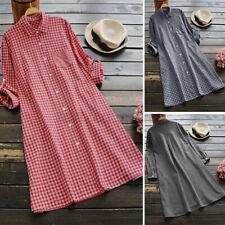 US STOCK Women Long Sleeve Botton Down Vintage Check Plaid Midi Shirt Dress Plus