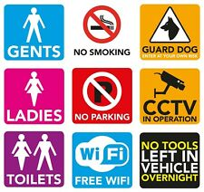 Warning Signs Health and Safety Work Site Information Fun Self Adhesive Stickers