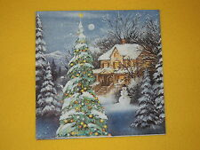 4 stück Servietten WINTER WORLD Haus Häuser Serviettentechnik Weihnachten blau 1
