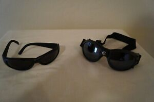 SHATTERPROOF MOTORCYCLE GOGGLES padded mirrored lens & INLAND blk shades