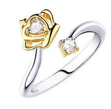 Fashion Women Silver Crown Open Adjustable Ring Fashion Crystal Ring