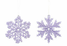 2 x Lilac Snowflake Christmas Tree Hanging Decorations Glitter Finish 12cm