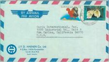 87565 - SURINAME - POSTAL HISTORY -  AIRMAIL COVER  to USA  1990's BIRDS
