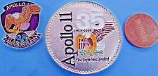 NASA MEDAL & enamel PIN '04 vtg APOLLO 11 35th Anniversary EAGLE LANDED coin