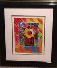 PETER MAX original signed painting ABSTRACT FLOWERS