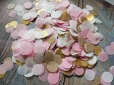 2 HANDFULS GOLD, WHITE & PINK CIRCLE WEDDING THROWING CONFETTI.TABLE DECORATION