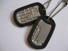 personalized military dog tag sets. with your choice of silencer colors