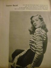 Lauren Bacall, Full Page Pinup Clipping