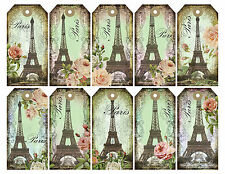 Paris Eiffel Tower labels x 10 - each with a slightly different design - 250 gsm
