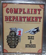 """12"""" X 15"""" Tin Sign Complaint Department Take A Number Metal Sign New 00004000"""