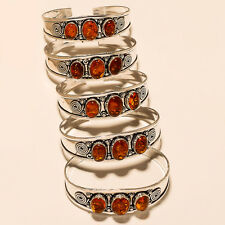 Amber Silver Plated Gemstone Cuff Bracelet Jewellery E2992