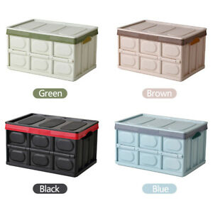 New Instant Foldable Portable Crates Car Storage Container Box with Lid 30L/55L