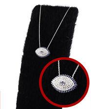Turkish Handmade Evil Eye Figure Zircon Stone 925 Sterling Silver Women Necklace