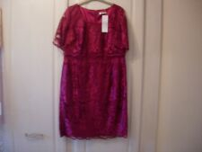 Jacques Vert Petite Layered Lace Dress -dark Red Size 16