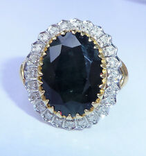 Large 9ct Gold 7.00ct Sapphire & Diamond Ring, Size P, Diana Style