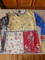 Roberto Cavalli Cotton Long Sleeve Shirt Top Blouse Asian Style sz 52 Womens