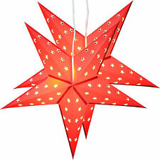 Twinpack Red Christmas Paper Star 5 Leaf 'Star Cutting' 24 Inches with 10 LED